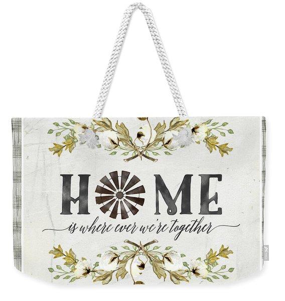 Sweet Life Farmhouse 5 Home Windmill Cotton Boll Laurel Leaf Buffalo Check Plaid Weekender Tote Bag