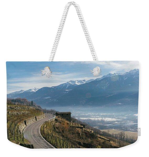 Swerving Road In Valtellina, Italy Weekender Tote Bag