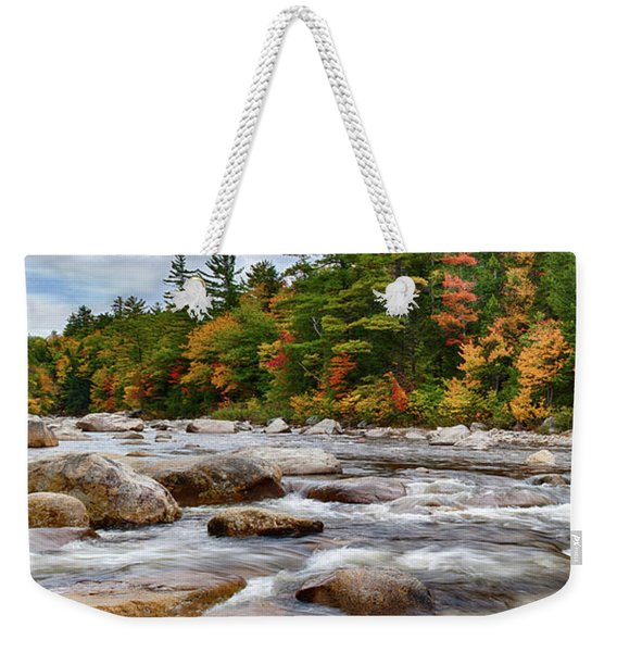 Weekender Tote Bag featuring the photograph Swift River Runs Through Fall Colors by Jeff Folger