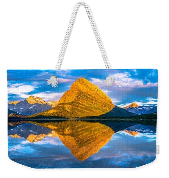 Swiftcurrent Lake Sunrise Panorama Weekender Tote Bag