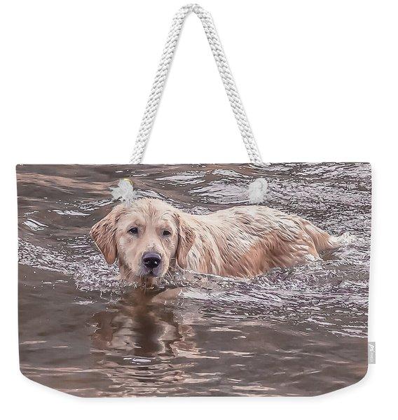 Swimming Puppy Weekender Tote Bag