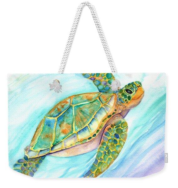 Swimming, Smiling Sea Turtle Weekender Tote Bag