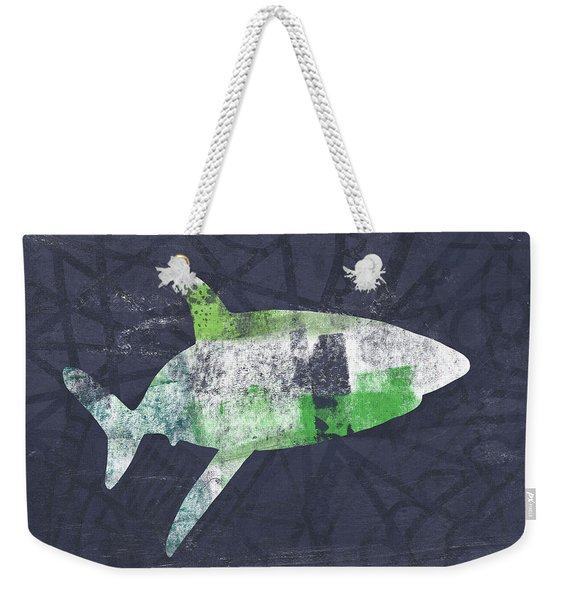 Swimming With Sharks 2- Art By Linda Woods Weekender Tote Bag