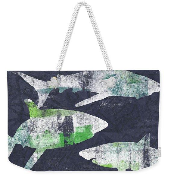 Swimming With Sharks- Art By Linda Woods Weekender Tote Bag