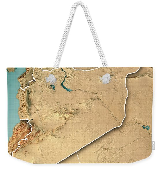 Syria Country 3d Render Topographic Map Border Weekender Tote Bag