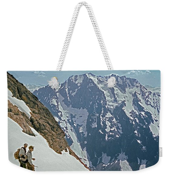 T-04402 Fred Beckey And Joe Hieb After First Ascent Forbidden Peak Weekender Tote Bag