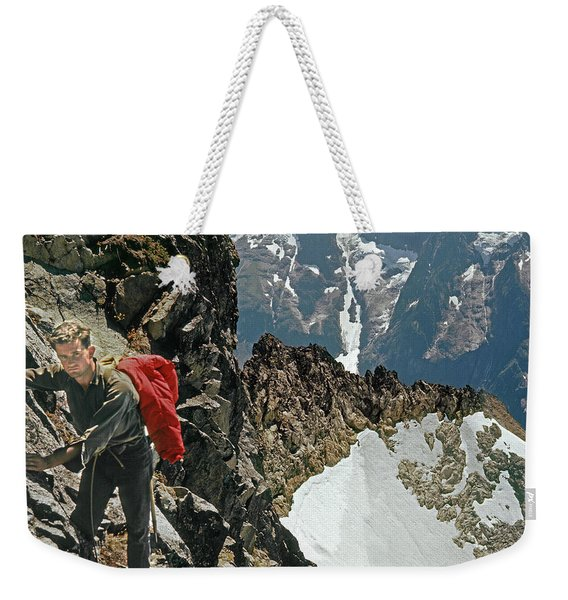 T-04403 Walt Buck Sellers On First Ascent Of Mt. Torment Weekender Tote Bag