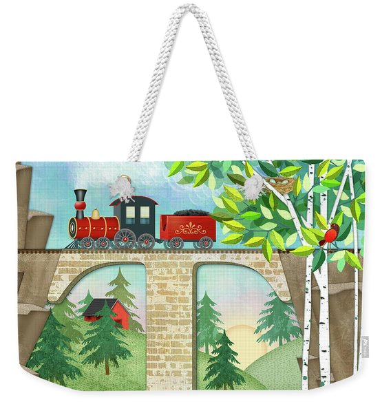 T Is For Train And Train Trestle Weekender Tote Bag