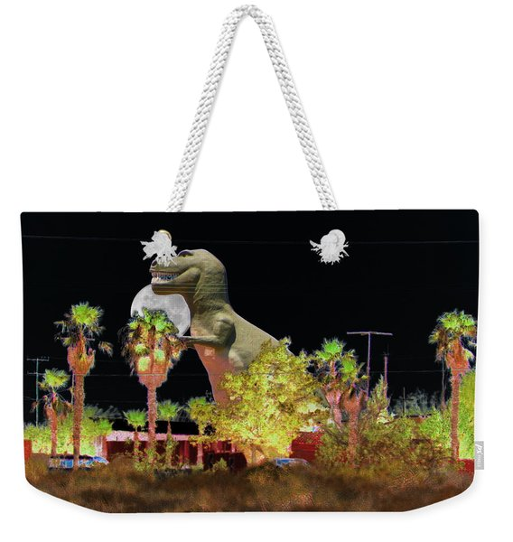 T-rex In The Desert Night Weekender Tote Bag