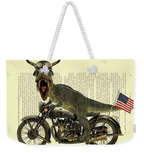 T Rex Riding His Harley, Dictionary Print Weekender Tote Bag