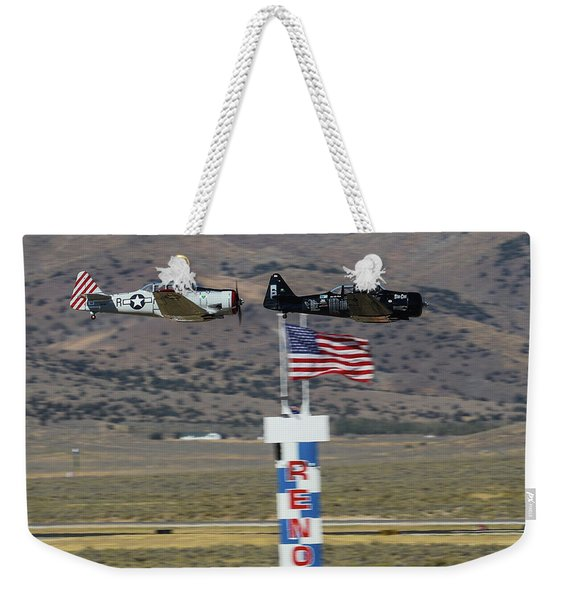 T6 Tango At Reno Air Races Home Pylon Finish Line Weekender Tote Bag