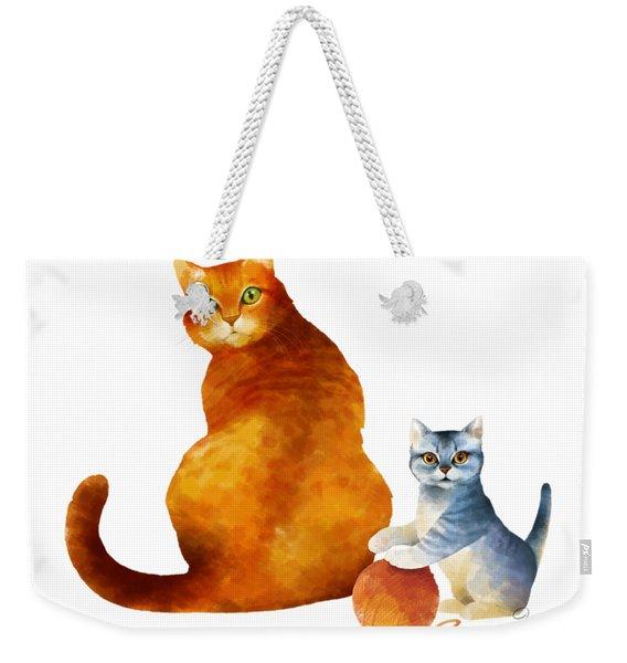 Tabby Cat And Kitten Weekender Tote Bag