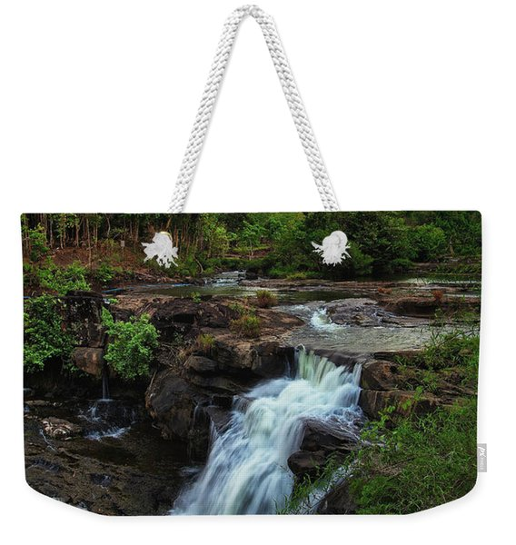 Weekender Tote Bag featuring the photograph Tad Lo Waterfall, Bolaven Plateau, Champasak Province, Laos by Sam Antonio Photography