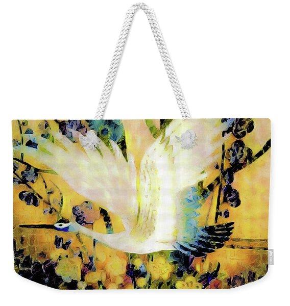 Taking Wing Above The Garden - Kimono Series Weekender Tote Bag