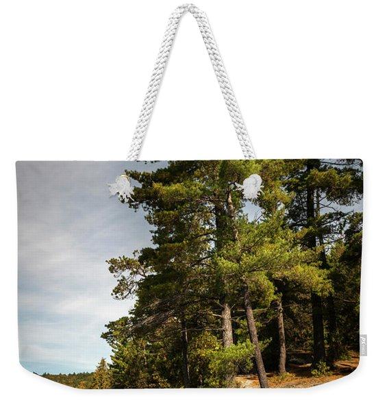 Tall Pines On Lake Shore Weekender Tote Bag