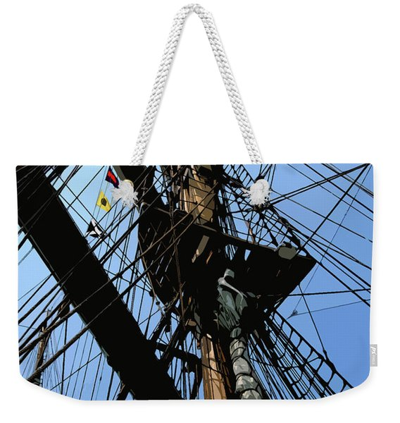 Tall Ship Design By John Foster Dyess Weekender Tote Bag
