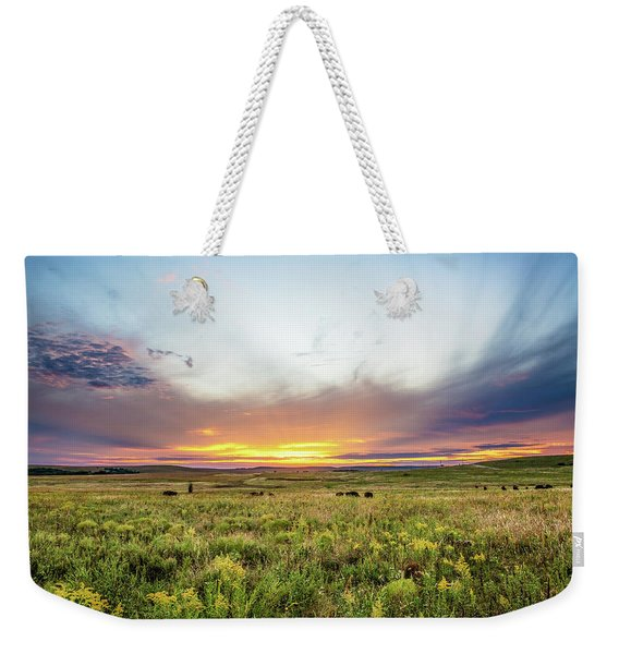 Tallgrass Prairie - Incredible Sunset Over Open Plains In Oklahoma Weekender Tote Bag