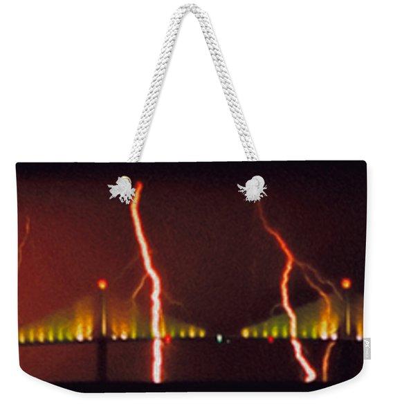 Tampa Bay Lightning Over The Skyway Bridge Weekender Tote Bag