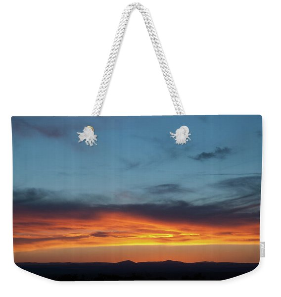 Weekender Tote Bag featuring the photograph Taos Mesa Sunset by Jason Coward