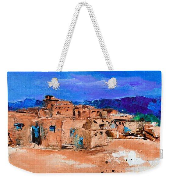 Taos Pueblo Village Weekender Tote Bag