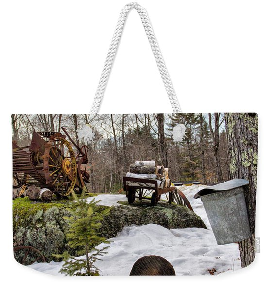Tapping A Maple Sugar Tree Weekender Tote Bag