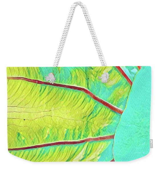 Taro Leaf In Turquoise - The Other Side Weekender Tote Bag