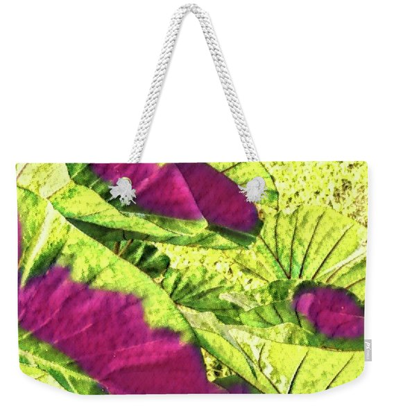 Taro Leaves In Green And Red Weekender Tote Bag