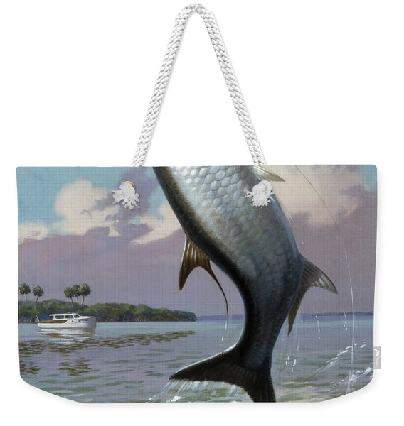 Tarpon Caught On Hook Leaps Weekender Tote Bag
