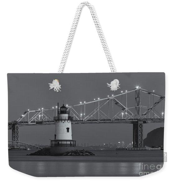 Tarrytown Lighthouse And Tappan Zee Bridge At Twilight II Weekender Tote Bag