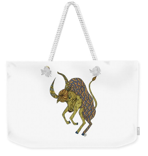 Weekender Tote Bag featuring the drawing Taurus by Barbara McConoughey