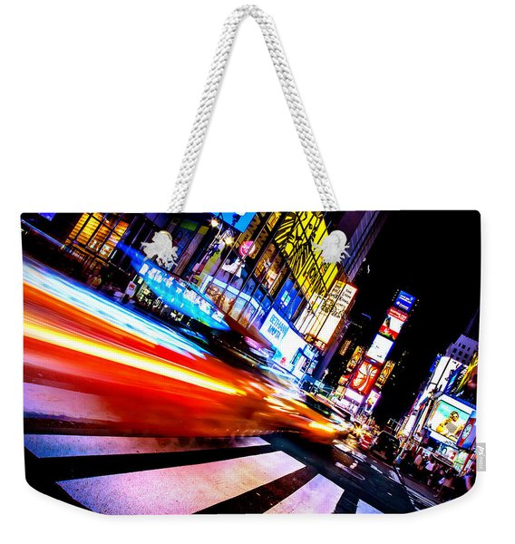 Taxis In Times Square Weekender Tote Bag