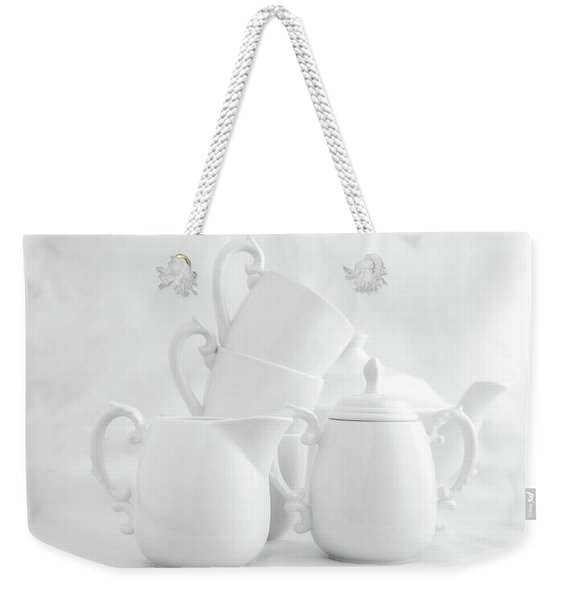 Tea For Three In White Weekender Tote Bag