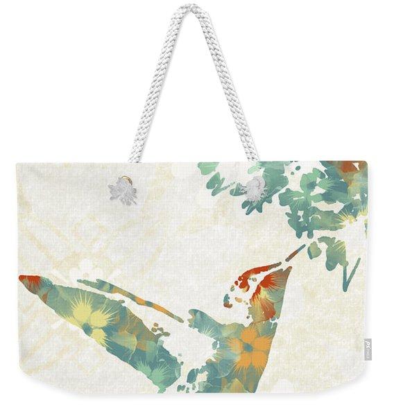 Floral Hummingbird Art Weekender Tote Bag