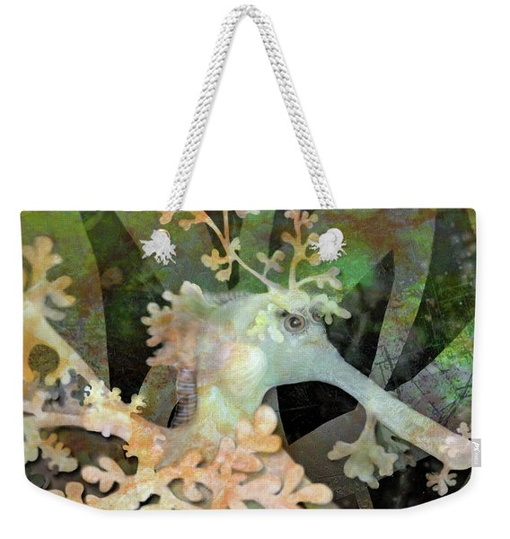 Teal Leafy Sea Dragon Weekender Tote Bag