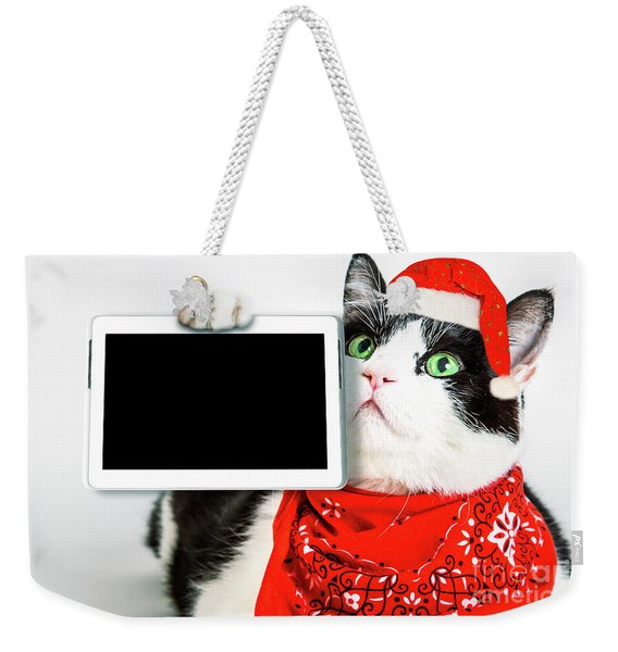 Weekender Tote Bag featuring the photograph Technology Christmas Cat by Benny Marty
