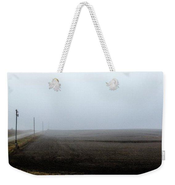 Telephone Poles Along A Foggy Field Weekender Tote Bag
