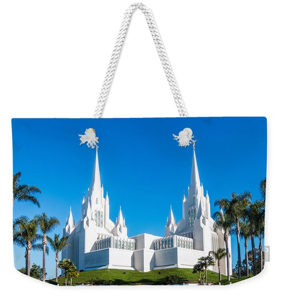 Weekender Tote Bag featuring the photograph Temple Glow by Patti Deters