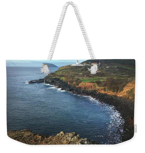 Terceira Island Coast With Ilheus De Cabras And Ponta Das Contendas Lighthouse  Weekender Tote Bag
