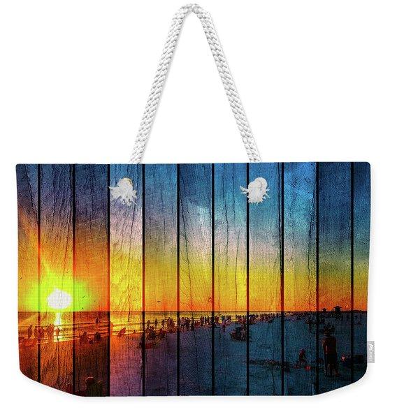 Siesta Key Drum Circle Sunset - Wood Plank Look Weekender Tote Bag