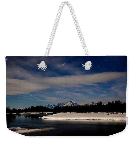 Tetons At Moonlight Weekender Tote Bag