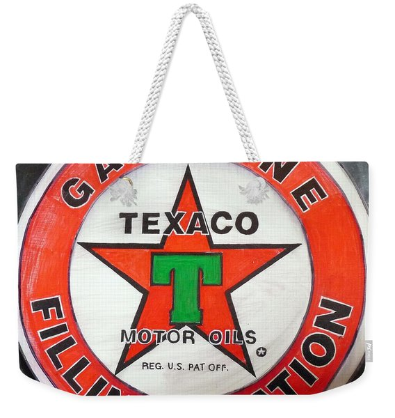 Weekender Tote Bag featuring the painting Texaco Sign by Richard Le Page