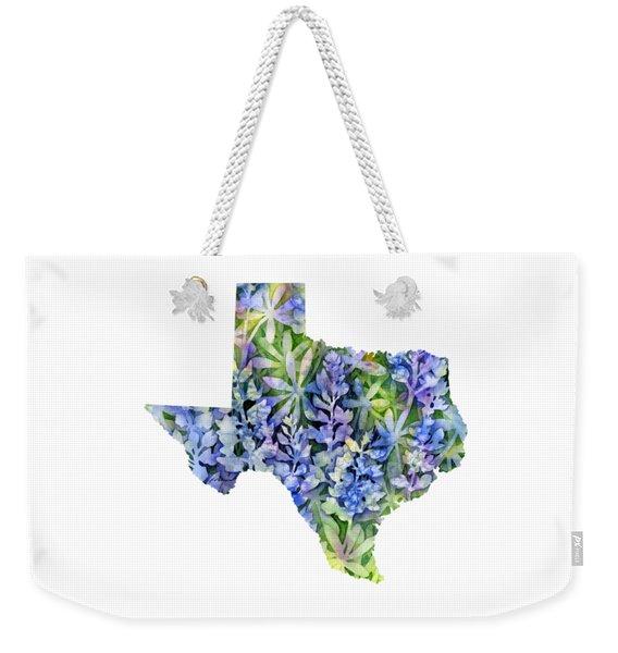 Texas Blue Texas Map On White Weekender Tote Bag
