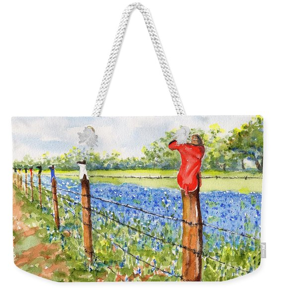 Texas Bluebonnets Boot Fence Weekender Tote Bag