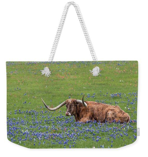 Texas Longhorn And Bluebonnets Weekender Tote Bag