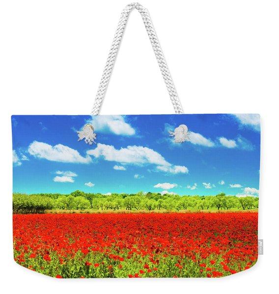 Texas Red Poppies Weekender Tote Bag