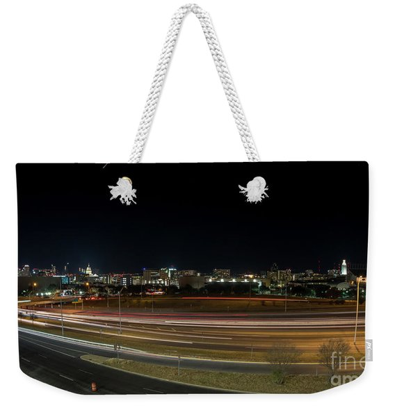 Texas University Tower And Downtown Austin Skyline From Ih35 Weekender Tote Bag