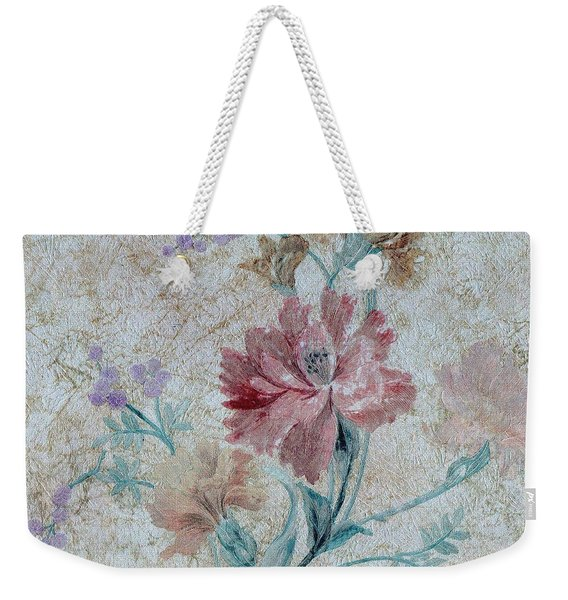 Weekender Tote Bag featuring the mixed media Textured Florals No.1 by Writermore Arts