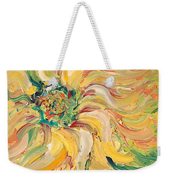 Textured Green Sunflower Weekender Tote Bag