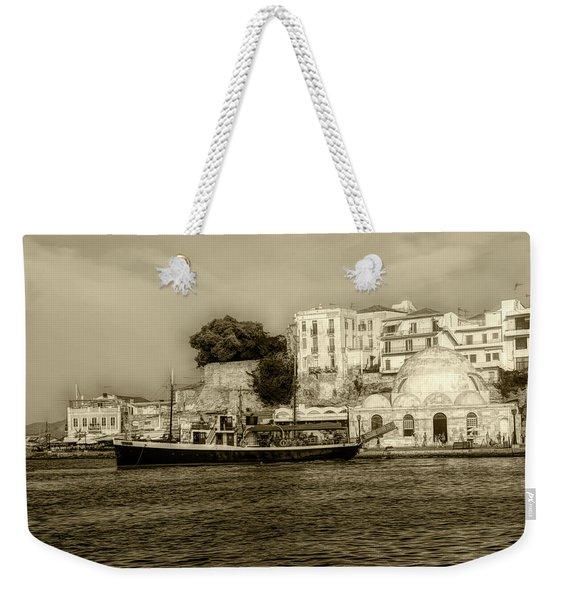 Th Old Harbor In Chania Weekender Tote Bag