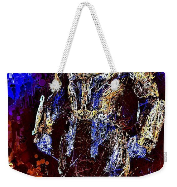 Weekender Tote Bag featuring the mixed media Thanos by Al Matra